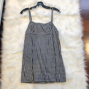 White and Black Checkered Mini Dress